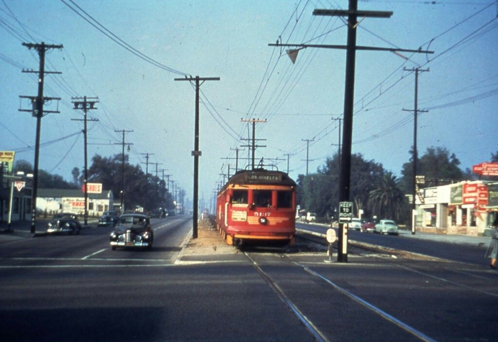 Pacific Electric car no. 5137 during the last weeks of service of the San Fernando Valley Line. The image is dated December 1952.