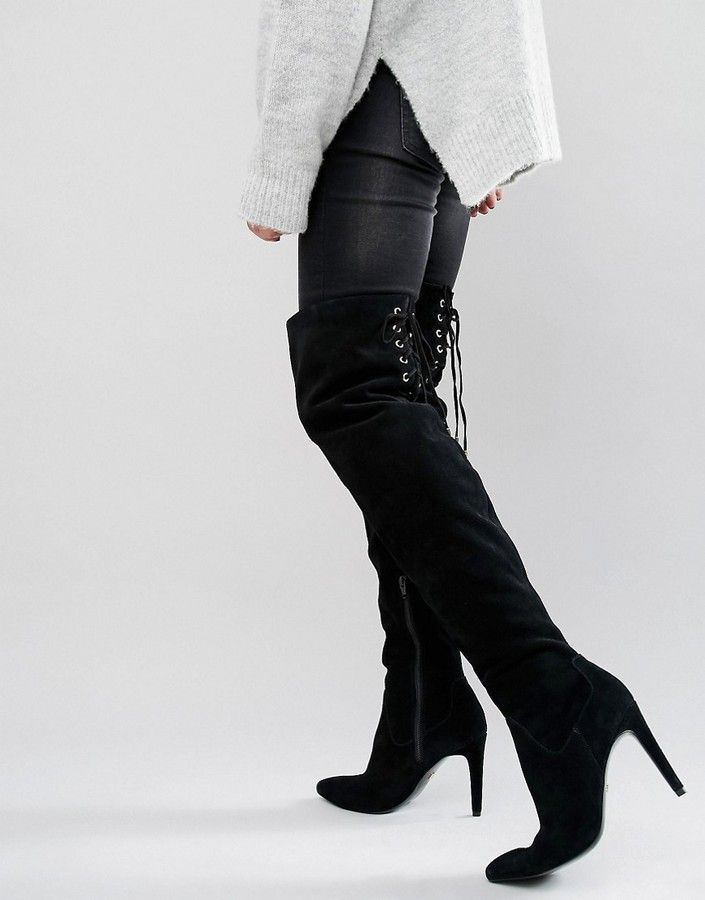 78fbd4aa244 Faith Solo Fierce Tie Back Suede Heeled Over The Knee Boots | OVER ...