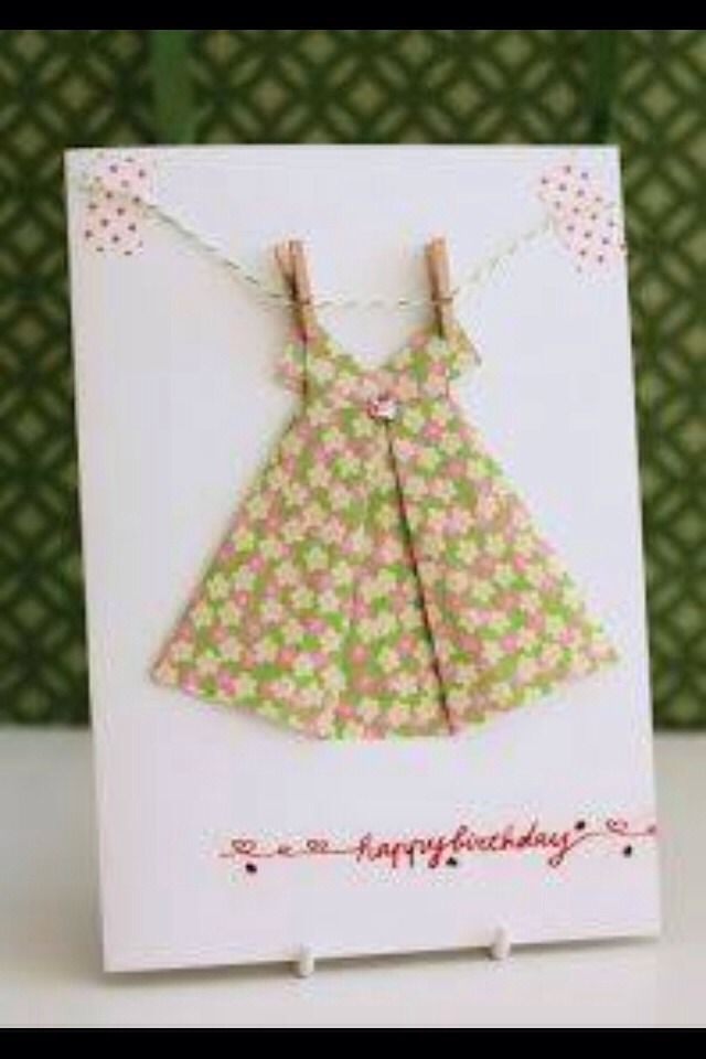 Diy Pretty Birthday Card Cards Pinterest Dress Card Origami