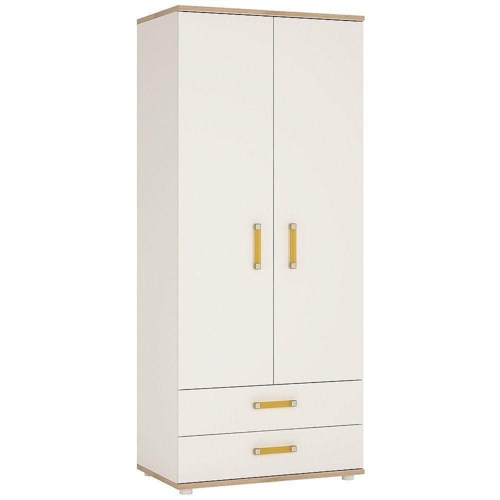 4 Kids 2 Door 2 Drawer Wardrobe in Light Oak & White High Gloss