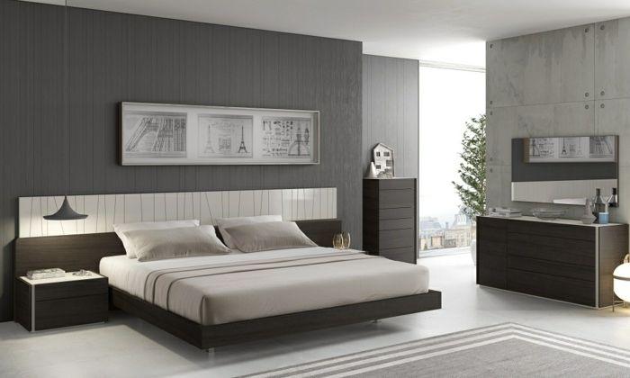 Schlafzimmer Grau Eleganter Teppich Coole Hängeleuchte Wanddeko