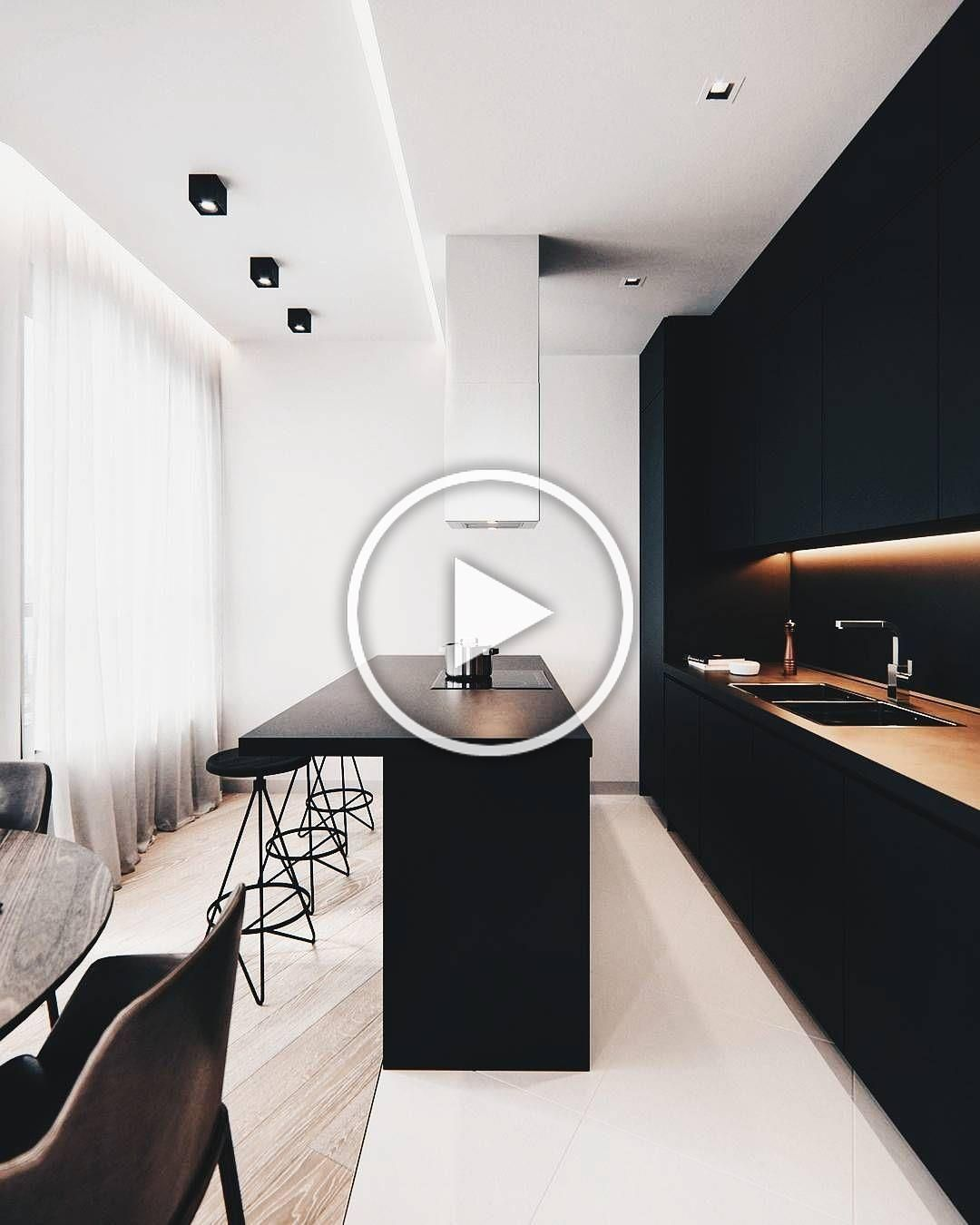 Stark black and white kitchen via @allofarchitecture. Notice how recessed fixtures are integral part of the design. Shop recessed lighting (click photo)  #modern #modernlighting #modernliving #moderninterior #modernhouse #modernhome #modernstyle #moderndesign #design #designinspo #interiordesign #homedesign #interiordesigner #professionaldesigner #homedesigner #housedesign #designing #homedesigninspiration #lighting #home #interiors #howyouhome #homeideas