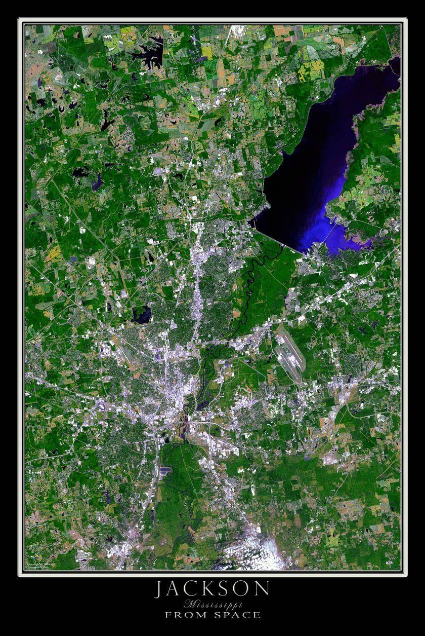 Jackson Mississippi Satellite Poster Map Jackson Mississippi
