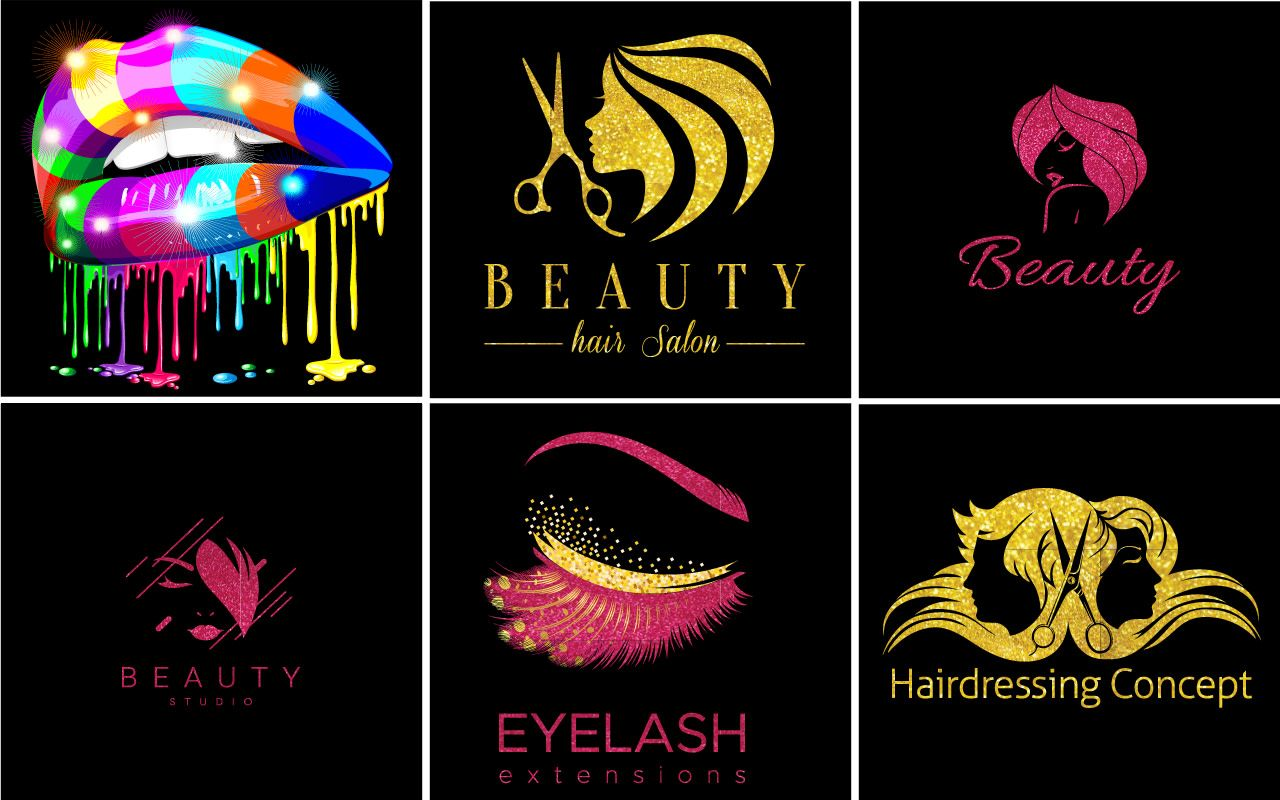 Design eyelash and hair extensions logo Friseursalon
