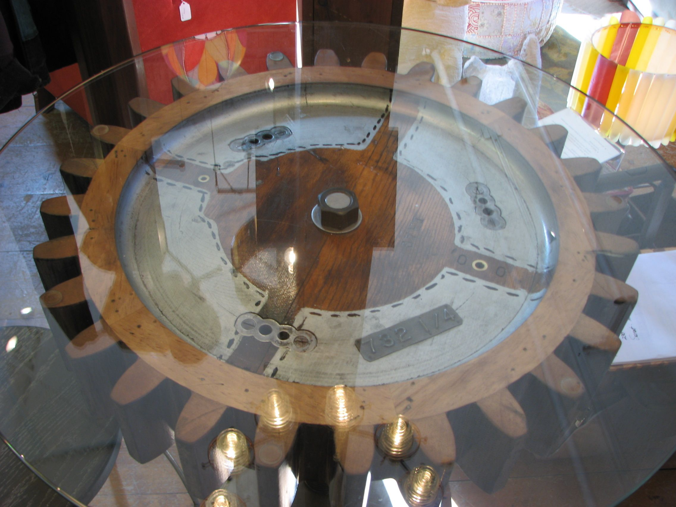 Round Dining Table Made From Reclaimed Wood Gear Pattern