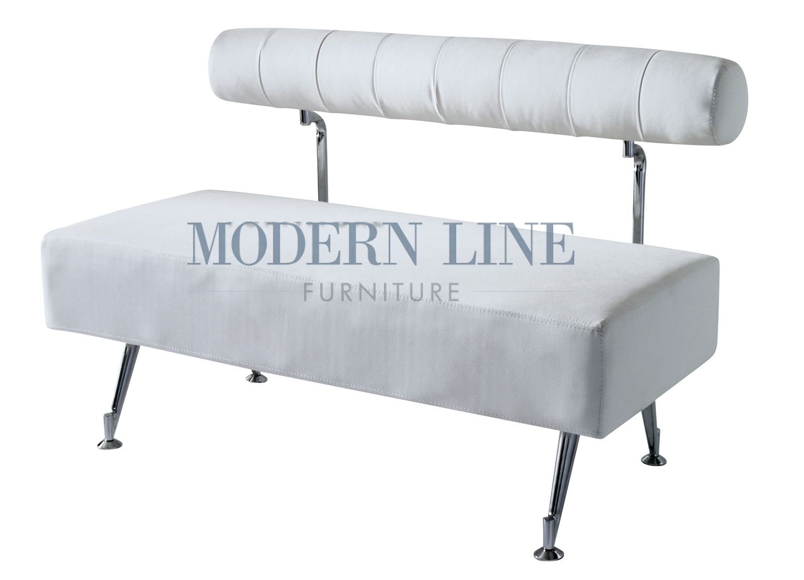 Modern White Leather Bench With Back Reception Area Salon