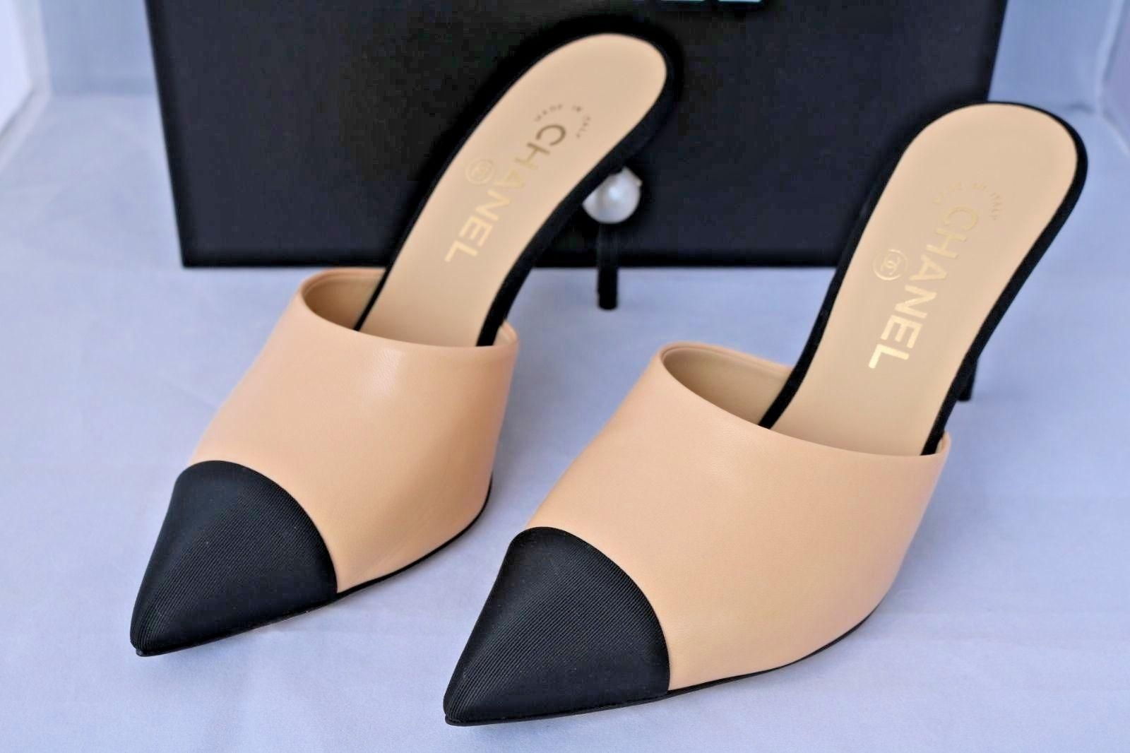 27fb22b86ad Chanel Beige Runway Black Leather Heels Pearl 36 Mules/Slides Size ...