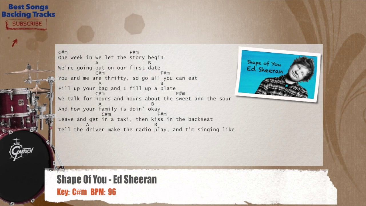 Shape Of You Ed Sheeran Drums Backing Track With Chords And Lyrics