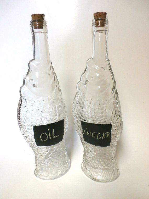 Upcycled Glass Fish Bottle with Chalkboard by MidnightandMagnolias, $14.00