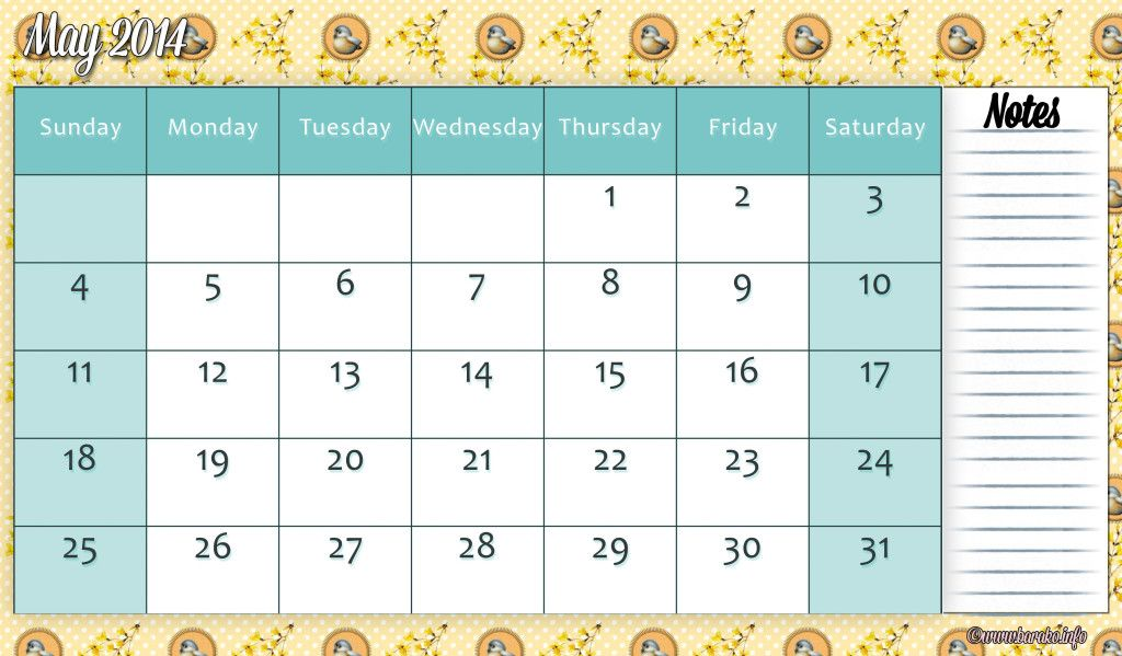Printable May 2014 Calendar For Free Printable Calendar 2014