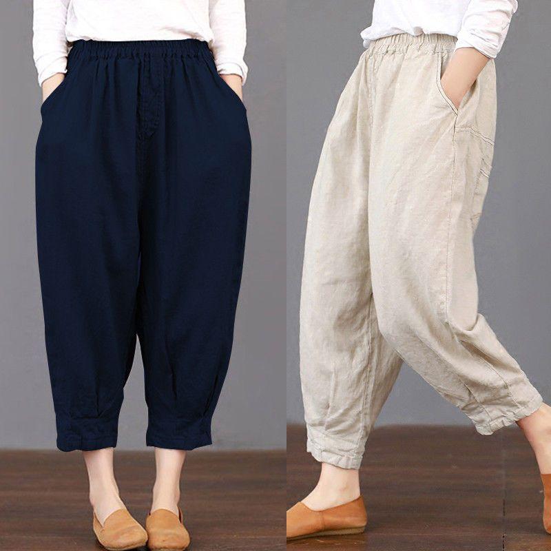 Womens Cotton Linen Elastic Waist Loose Pants Summer Solid Pocket Harem Trousers