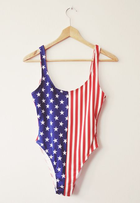3344c615c44 star-spangled one piece. The US Flag Malibu swimsuit by #AmericanApparel.