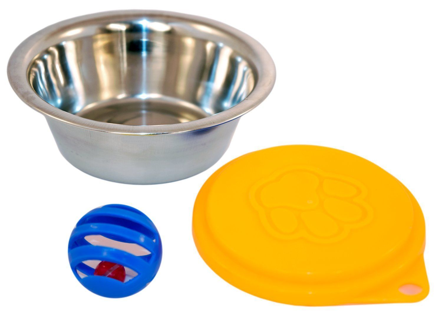 Tuktek Stainless Steel Cat Food Bowl Dish And Reusable Can Cap