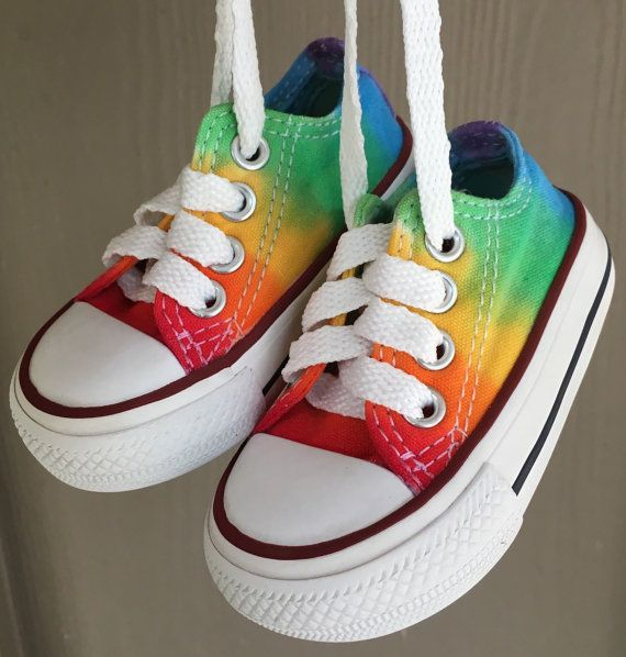 a5cc7a3addcc Items similar to Tie Dyed Infant Toddler Converse ~ Baby Size 2 ~ Hippie  Rainbow…
