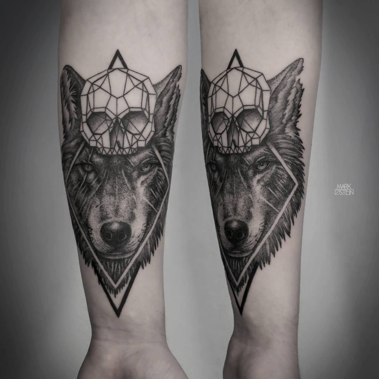 Abstract Skull And Wolf Tattoo On Forearm Geometric Wolf Tattoo Tattoo Designs Men Wolf Tattoo Design