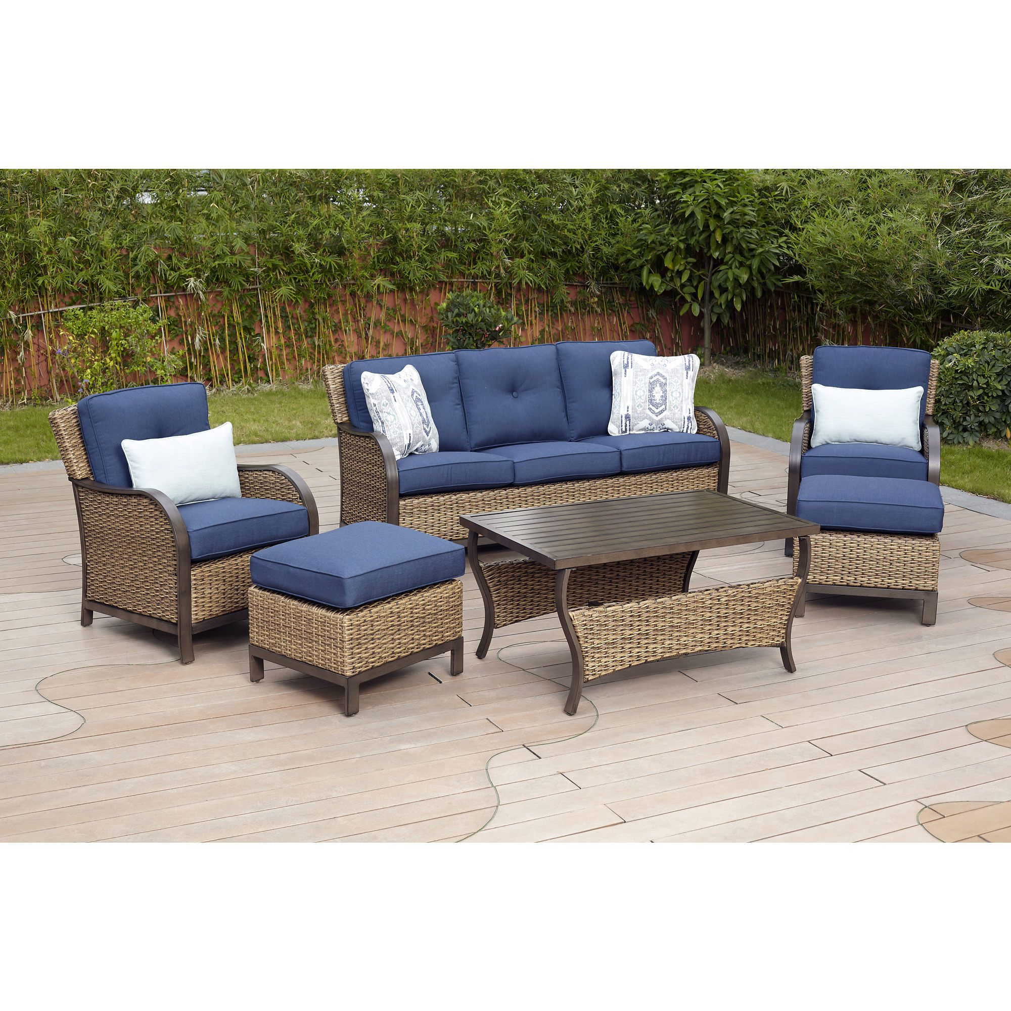 Berkley Jensen Nantucket 6 Pc Wicker Seating Set Spectrum Indigo Elegant Outdoor Furniture Wicker Sofa Outdoor Outdoor Furniture Sets