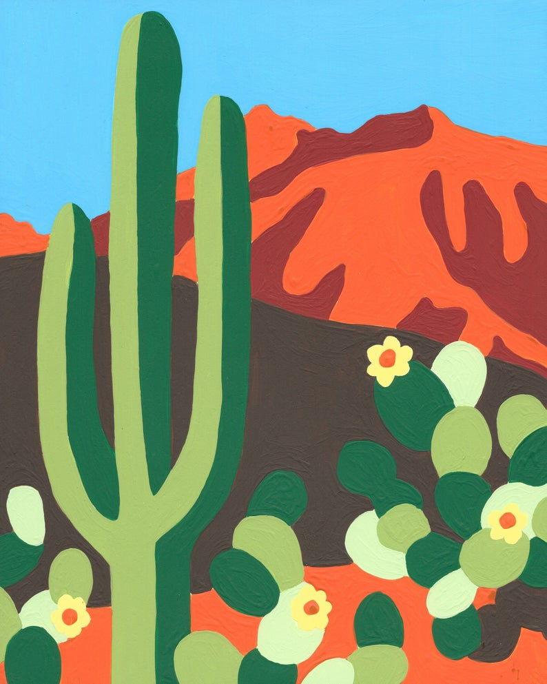 Paint by Number Kit - Bright and Colorful Desert Landscape with Cactus (perfect for DIY paint parties)