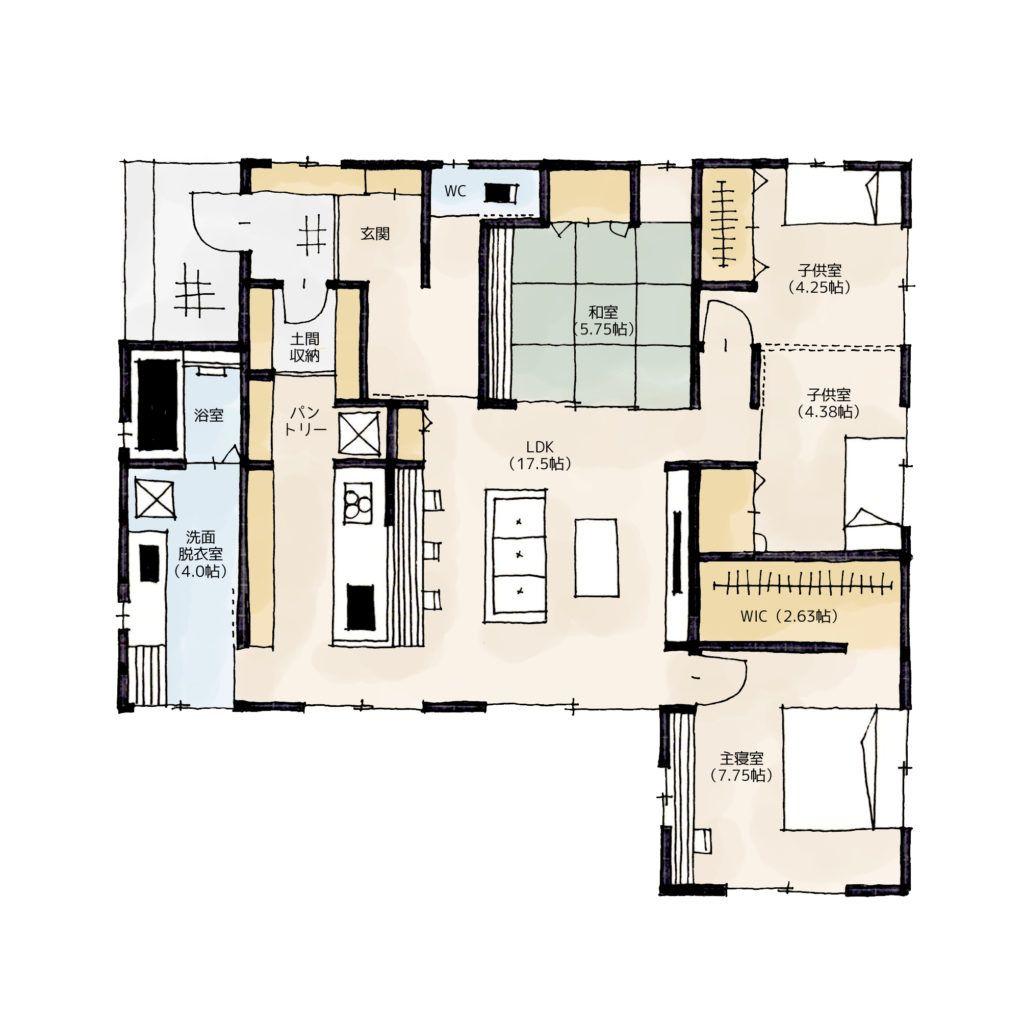 小さな平屋の間取り | 30坪・4ldk・平屋 | architecture | pinterest