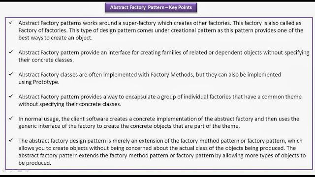 Abstract Factory Design Pattern Keypoints Pattern Design