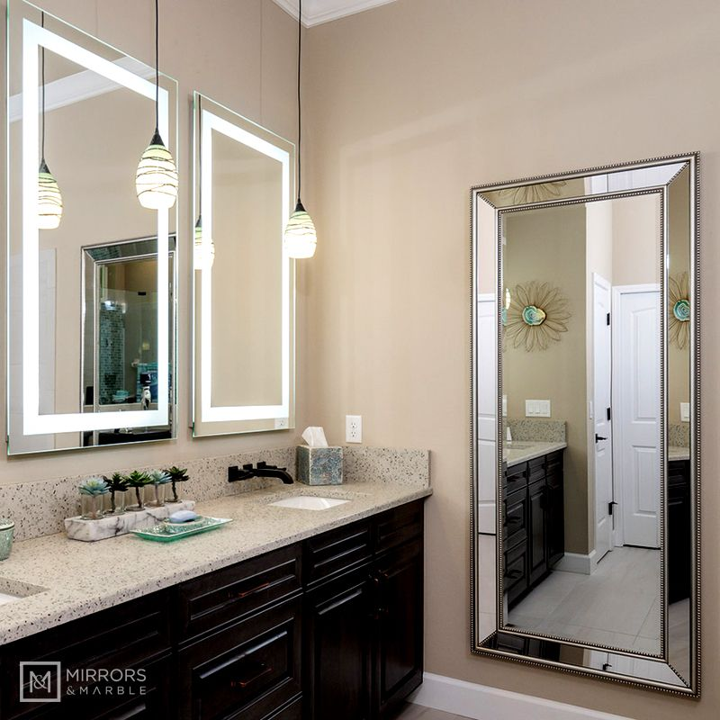 Front Lighted Led Bathroom Vanity Mirror 28 Wide X 48 Tall Rectangular Wall Mounted Led Mirror Bathroom Bathroom Vanity Mirror Commercial Bathroom Ideas