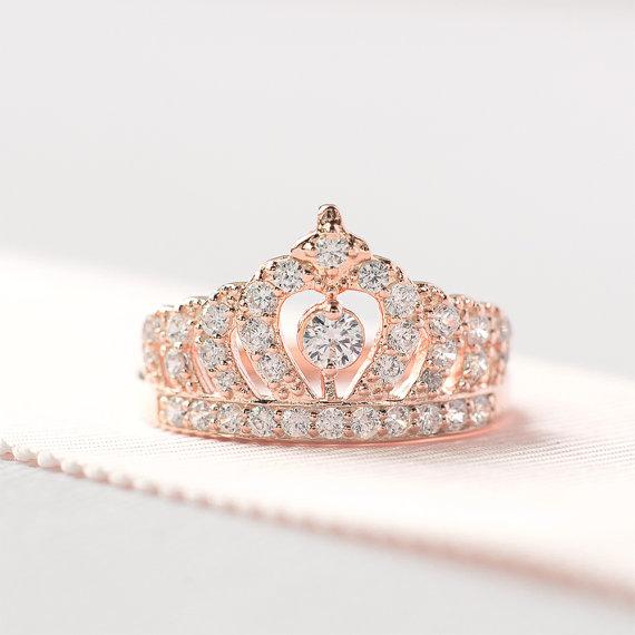 6ce76edc3 Rose Gold Crown Ring - Sterling Silver Tiara Ring - Princess Crown ...