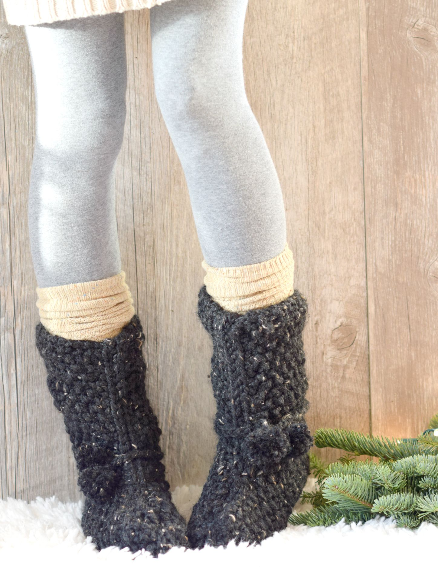 Mountain chalet boot slippers free knitting pattern worked flat these cozy boot slipper socks are knit flat making them an easy project for new knitters free pattern with a picture tutorial bankloansurffo Choice Image