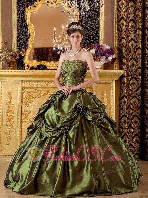 Brand New Olive Green Quinceanera Dress Straplesstaffeta Appliques