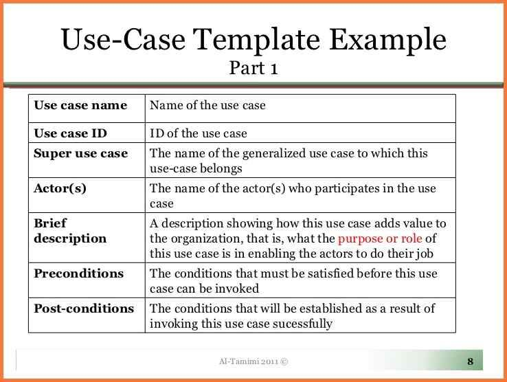 Use Case Template When The Template Is Ready You Can Fill In