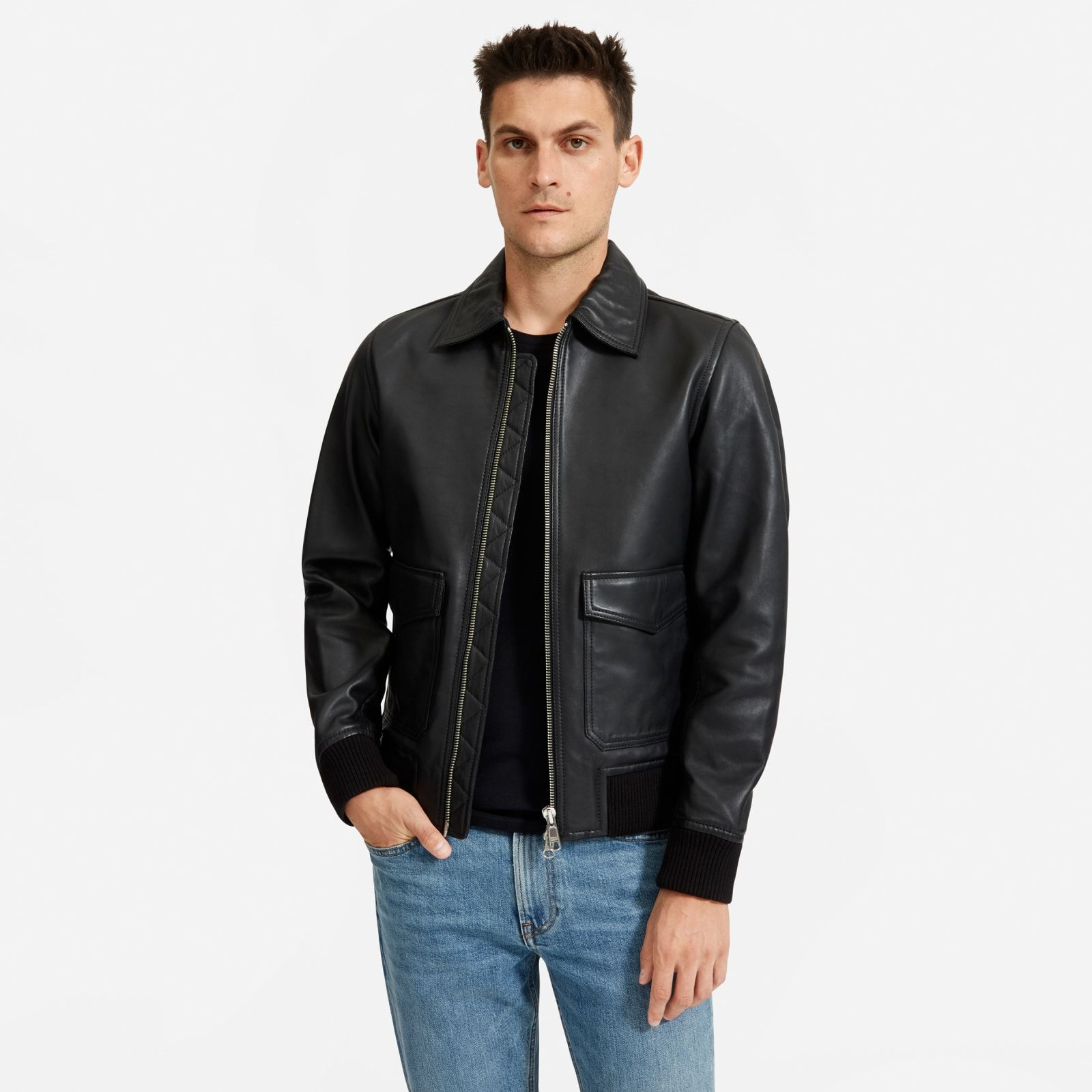 Men's Leather Bomber Jacket by Everlane in Black Mens