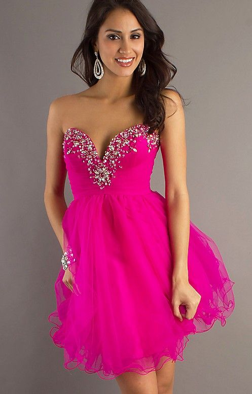 short fuchsia formal dress with straps