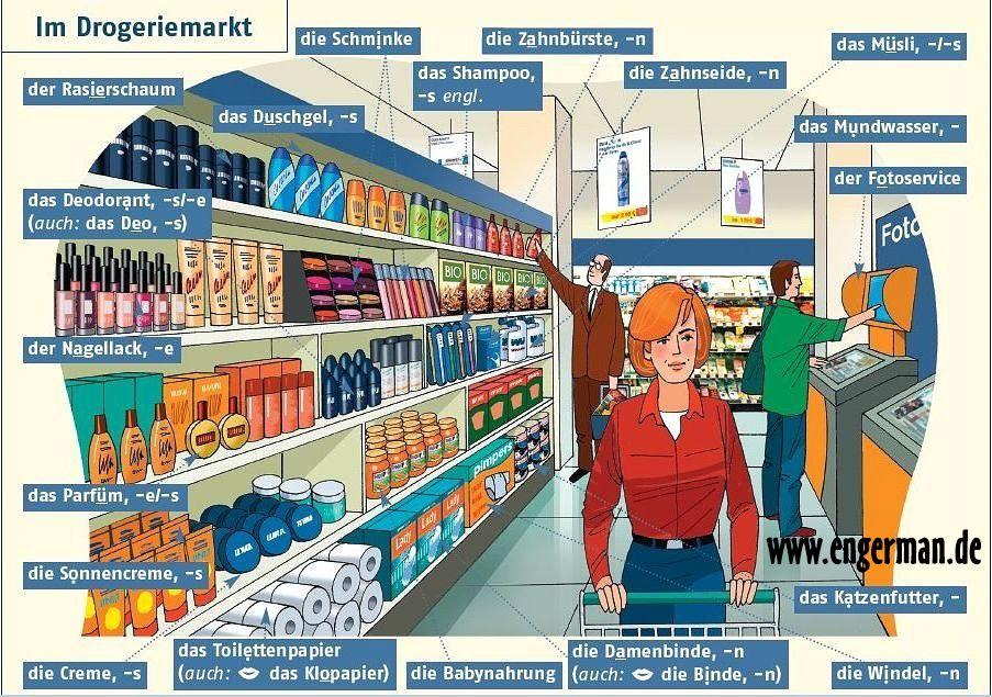 Im Drogeriemarkt Www Engerman De German Language Learn German German Grammar