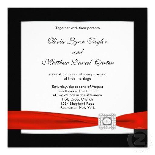 Red White Black Red Black Wedding Invitation Zazzle Com Black