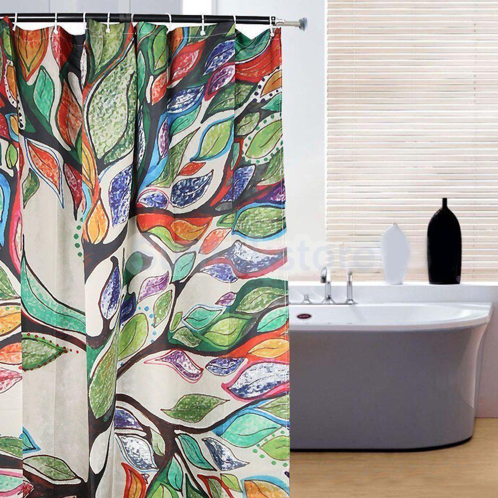 Polyester Bathroom Shower Curtain Divider Panel Hooks Set Colorful Tree