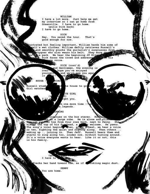 Almost Famous Screenplay Portrait Framed Art Print