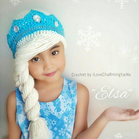 Disney Frozen Elsa Knit Winter Beanie Hat Blue Princess Warm Braid Blonde Hair