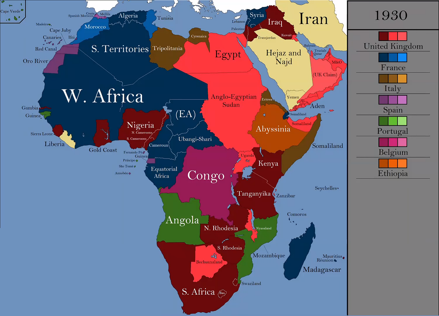 Africa And The Middle East At The Peak Of European