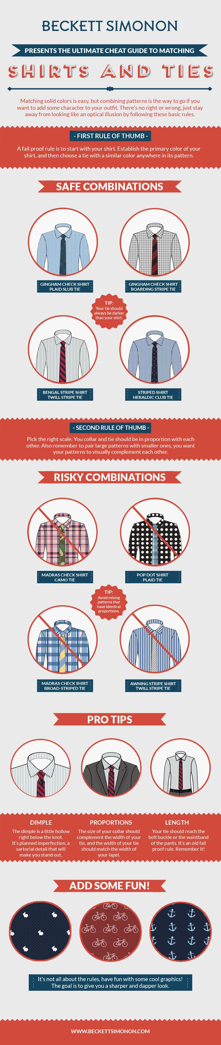 Ultimate cheat guide to matching shirts and ties