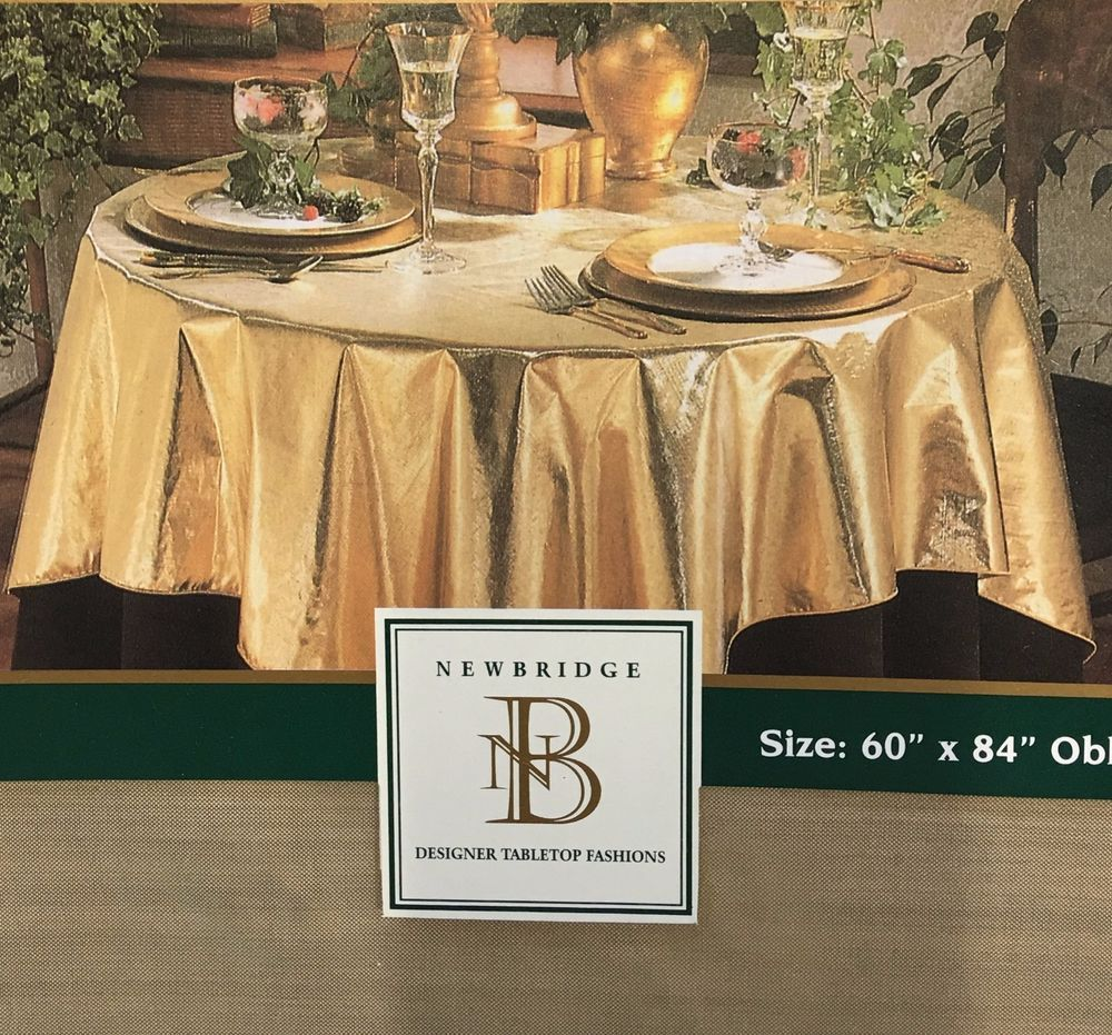 Gold Lame Fabric Tablecloth 60 X 84 Oblong Metallic Holiday Machine  Washable New