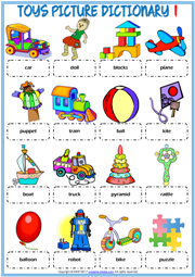 Toys ESL Printable Picture Dictionary Worksheets For Kids | English ...