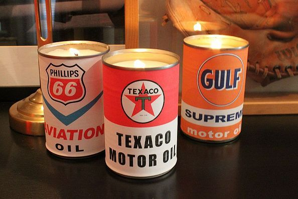 Vintage Country Oil Can Candles ! (From Recycled Cans) With Aged