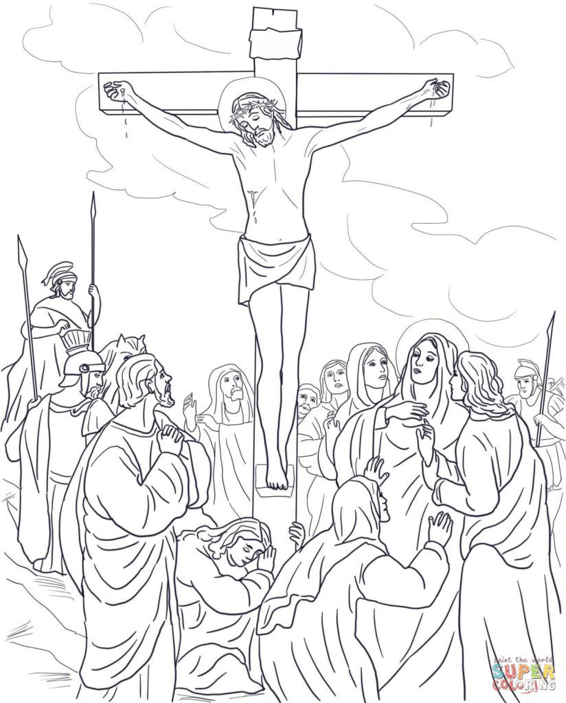 Jesus Dies On The Cross Coloring Page Free Printable Coloring Pages With Coloring Pages O Cross Coloring Page Sunday School Coloring Pages Jesus Coloring Pages