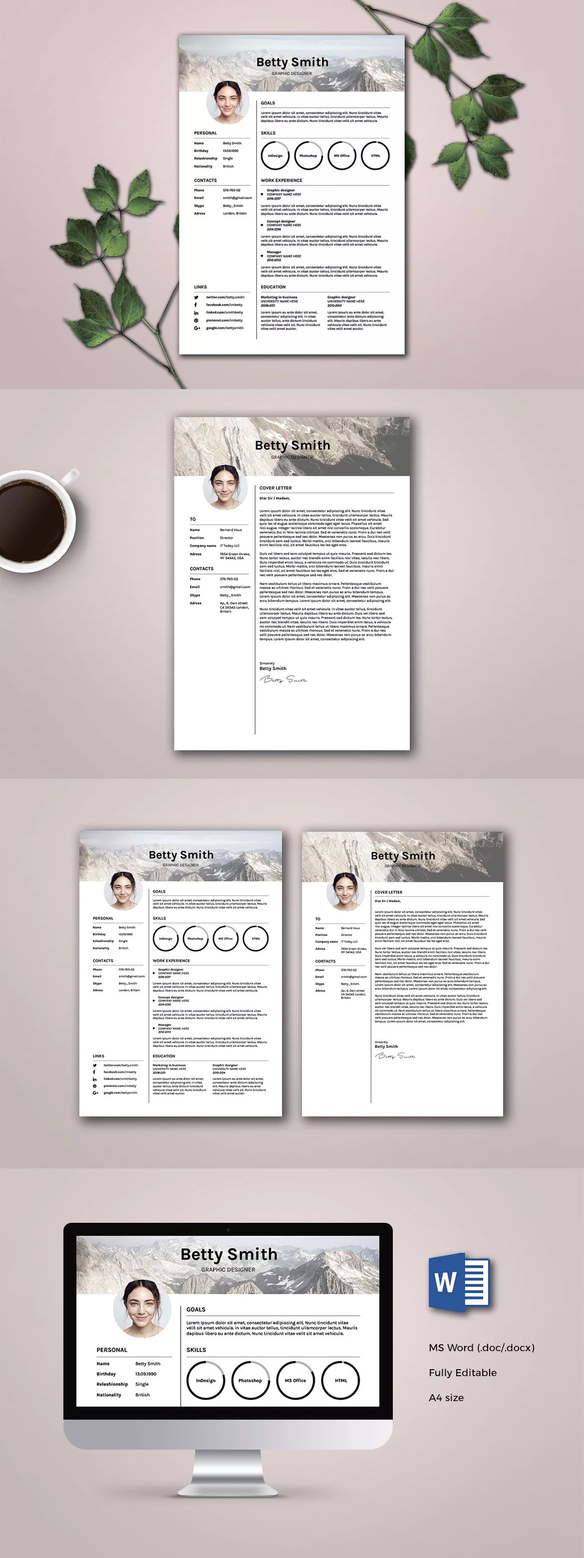 Clean Resume / CV Template InDesign INDD, MS Word A4 | Resume / CV ...