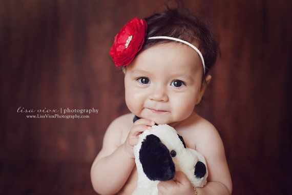 Baby Headband..Baby Girl Red and White by whisperbugboutique