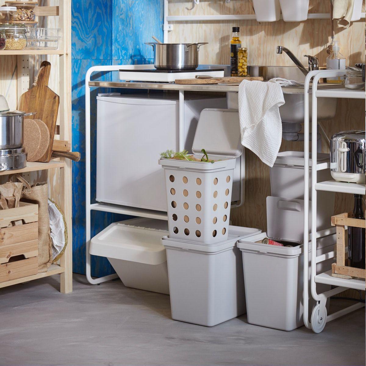 HÅLLBAR Bin with lid for organic waste light grey 10 l
