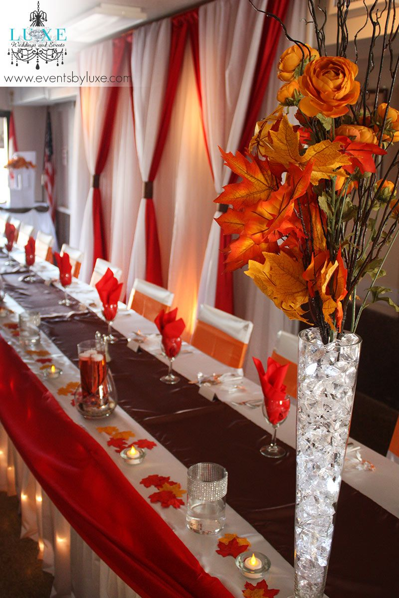 Orange white brown and red wedding decor in london for White wedding table decorations