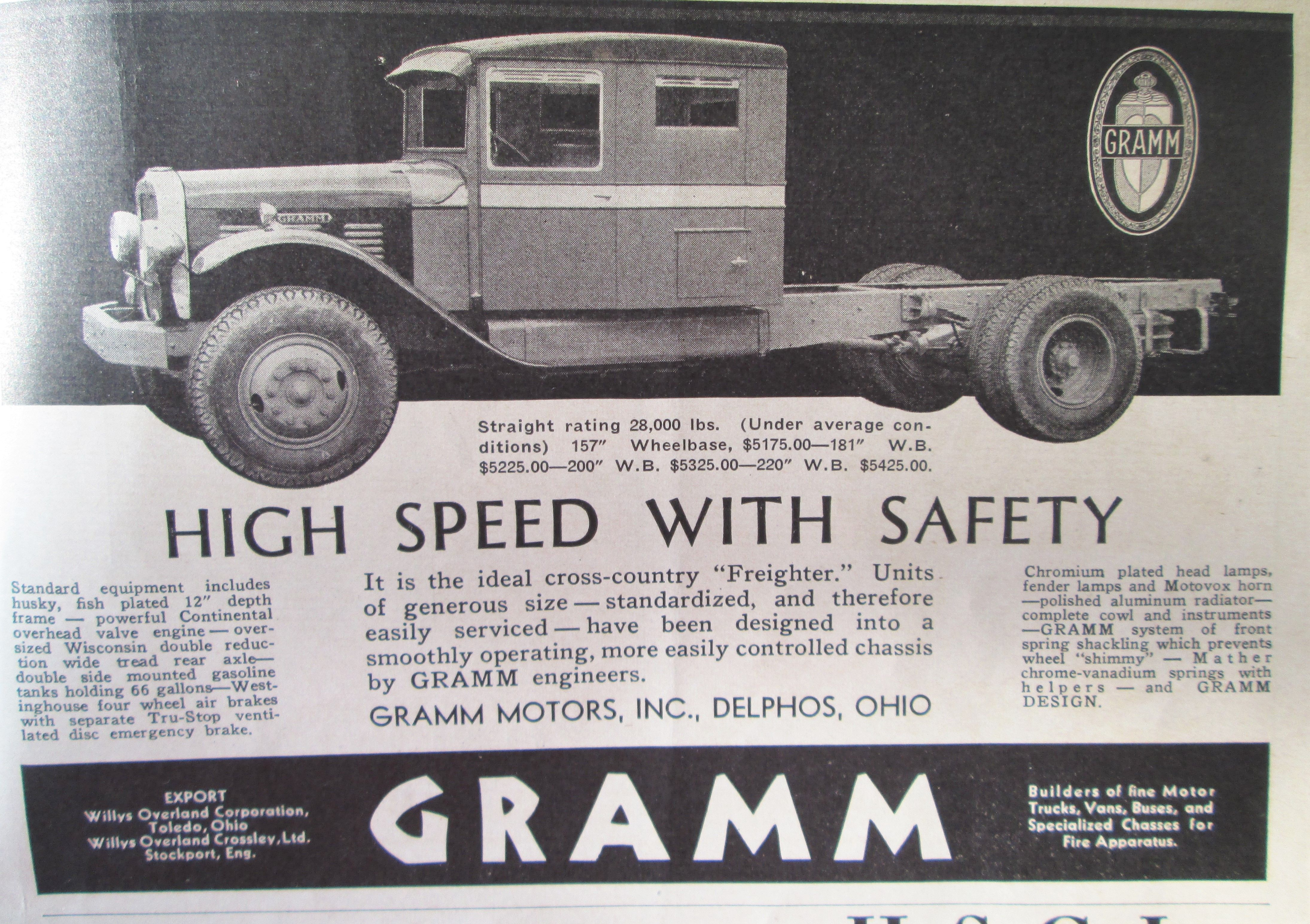 1931 Gramm Truck Co Ad Antique Trucks Trucks Old Ads