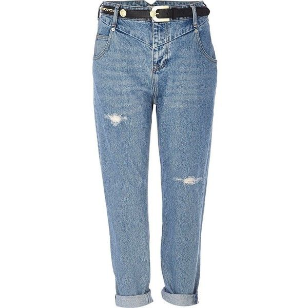 4122245bc4 River Island Light wash ripped slim Mom jeans ( 38) ❤ liked on Polyvore  featuring jeans