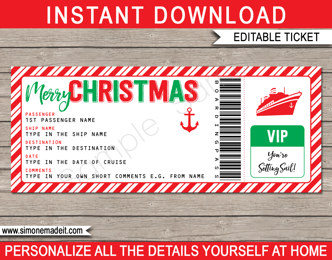 Cruise Ticket Christmas Gift Template Surprise Cruise Ship Trip Holiday Vacation Fake Boarding Pass Chri Cruise Gifts Christmas Cruises Cruise Tickets