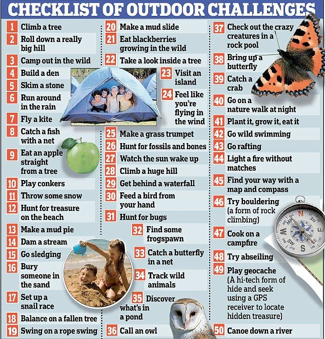 50 things to do before you're 12: Junior 'bucket list' campaign launched to get children playing outdoors