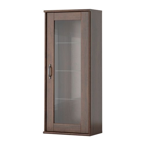 Master bath storage TOCKARP Wall cabinet with glass door, brown ...